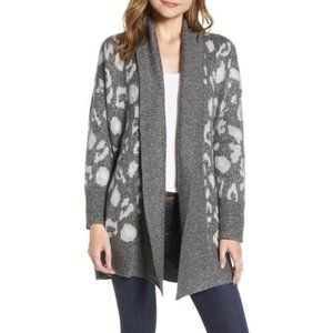 NWT Cupcakes & Cashmere Molly leopard cardigan M